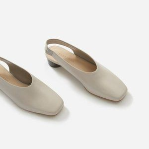EVERLANE Grey Square Toe Slingback Heels SOLD OUT